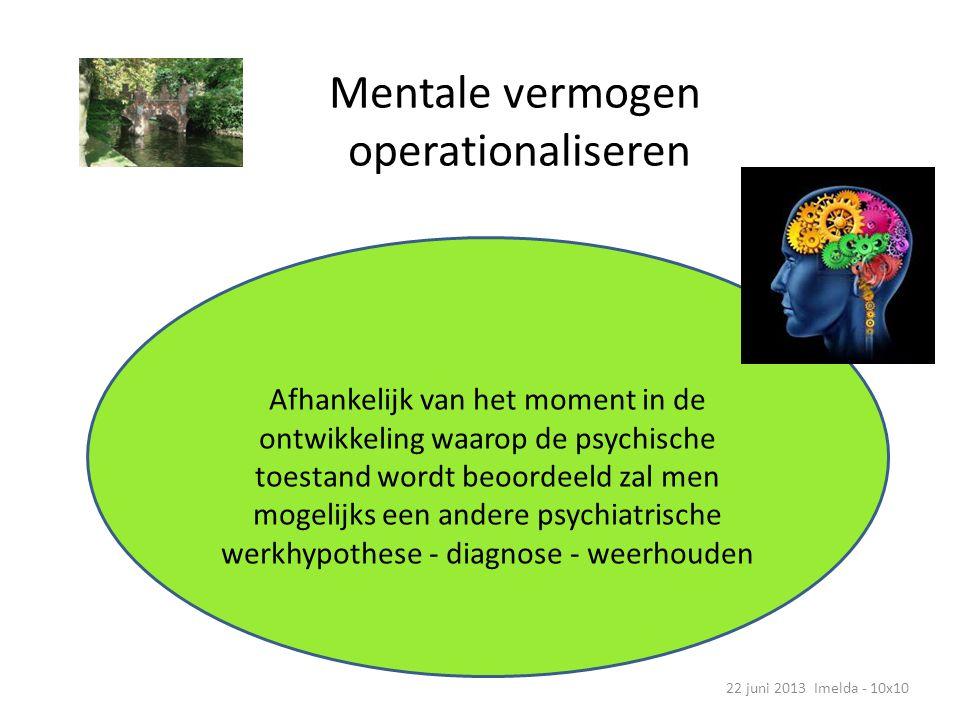 Mentale vermogen operationaliseren 22 juni 2013 Imelda - 10x10 Afhankelijk van het moment in de ontwikkeling waarop de psychische toestand wordt beoordeeld zal men mogelijks een andere psychiatrische werkhypothese - diagnose - weerhouden
