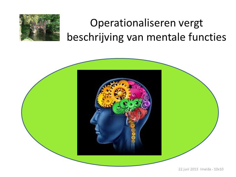 Mentale vermogen bestuderen => operationaliseren 22 juni 2013 Imelda - 10x10 Concentratie AandachtEmpathie Humor Sociale codes Abstract denken Theory of mind Tijdsgevoel Impuls- controle Talig vermogen Geheugen Rekenkundig vermogen
