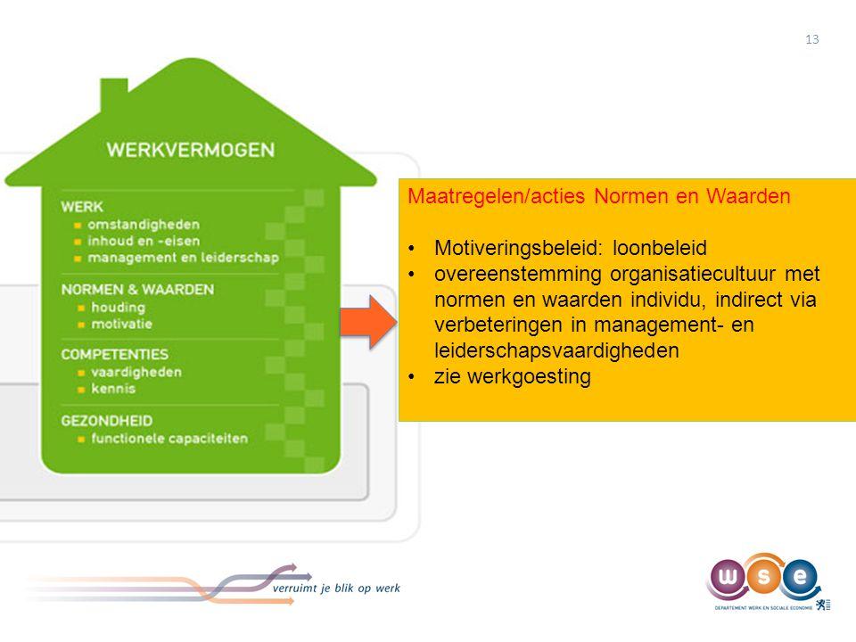 13 Maatregelen/acties Normen en Waarden •Motiveringsbeleid: loonbeleid •overeenstemming organisatiecultuur met normen en waarden individu, indirect vi