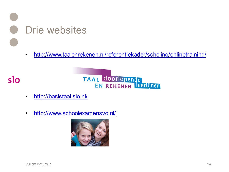 Drie websites •http://www.taalenrekenen.nl/referentiekader/scholing/onlinetraining/http://www.taalenrekenen.nl/referentiekader/scholing/onlinetraining/ •http://basistaal.slo.nl/http://basistaal.slo.nl/ •http://www.schoolexamensvo.nl/http://www.schoolexamensvo.nl/ Vul de datum in14