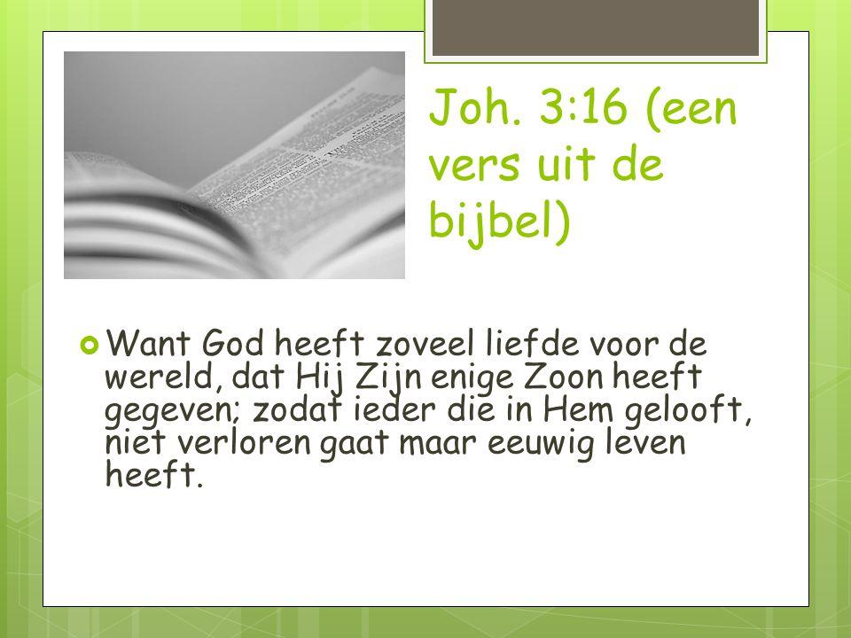 Joh. 3:16 (een vers uit de bijbel)  Want God heeft zoveel liefde voor de wereld, dat Hij Zijn enige Zoon heeft gegeven; zodat ieder die in Hem geloof