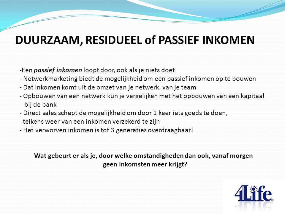 DUURZAAM, RESIDUEEL of PASSIEF INKOMEN -Een passief inkomen loopt door, ook als je niets doet - Netwerkmarketing biedt de mogelijkheid om een passief