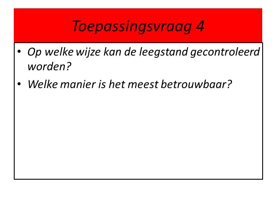 Toepassingsvraag 4 • Op welke wijze kan de leegstand gecontroleerd worden? • Welke manier is het meest betrouwbaar?