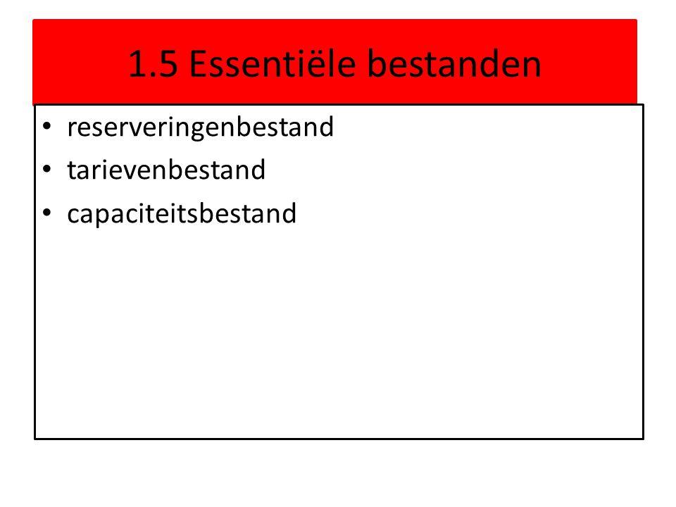 1.5 Essentiële bestanden • reserveringenbestand • tarievenbestand • capaciteitsbestand