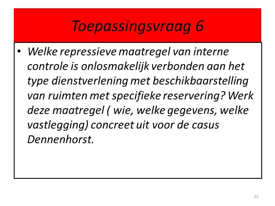 Toepassingsvraag 6 • Welke repressieve maatregel van interne controle is onlosmakelijk verbonden aan het type dienstverlening met beschikbaarstelling