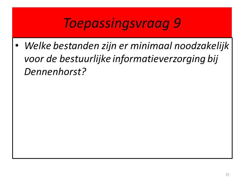 Toepassingsvraag 9 • Welke bestanden zijn er minimaal noodzakelijk voor de bestuurlijke informatieverzorging bij Dennenhorst? 35