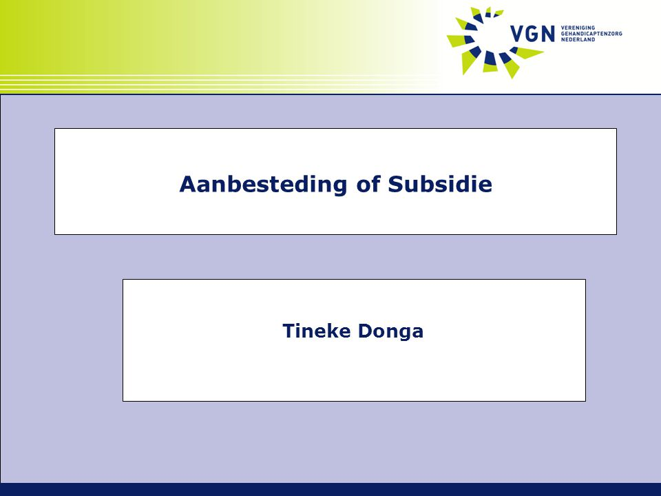 Tineke Donga Aanbesteding of Subsidie