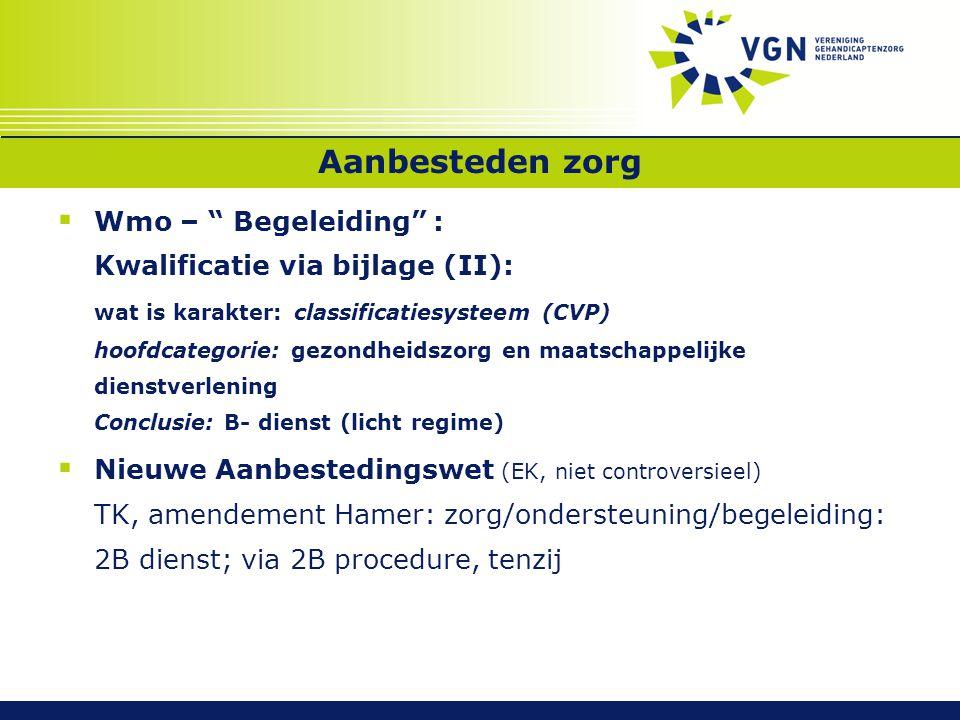 """Aanbesteden zorg  Wmo – """" Begeleiding"""" : Kwalificatie via bijlage (II): wat is karakter: classificatiesysteem (CVP) hoofdcategorie: gezondheidszorg e"""