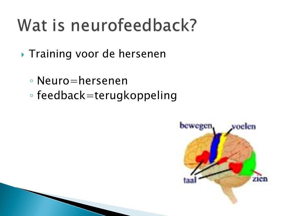  Training voor de hersenen ◦ Neuro=hersenen ◦ feedback=terugkoppeling