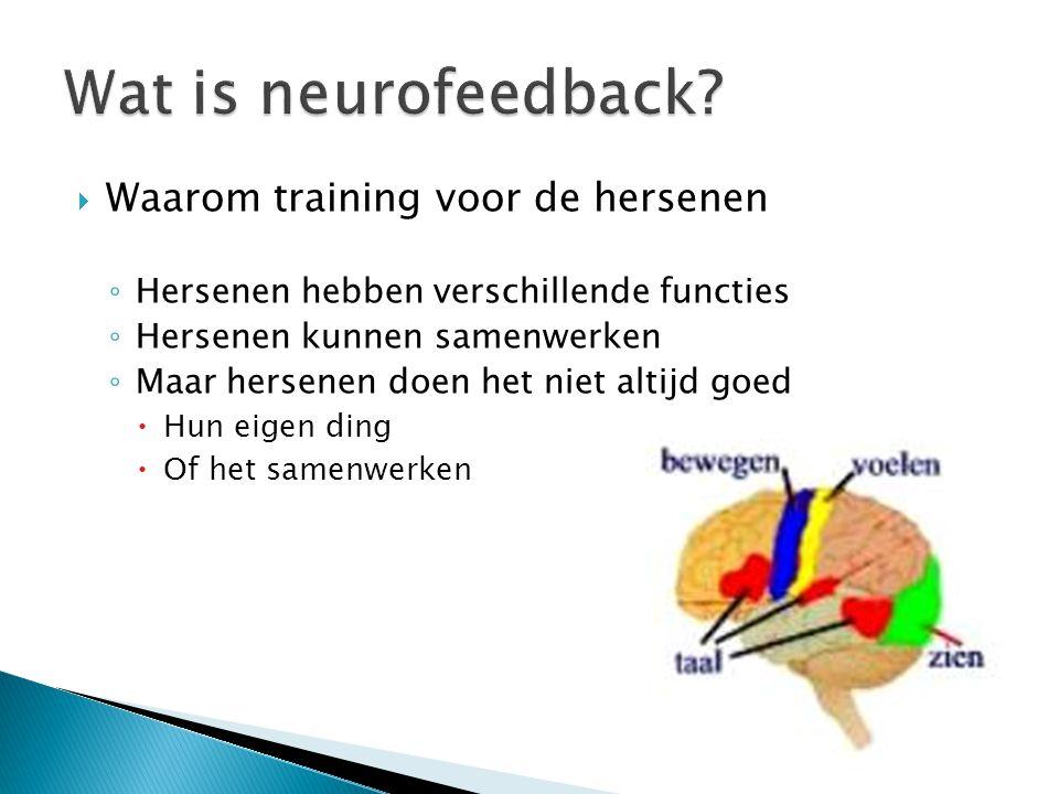 Waarom training voor de hersenen ◦ Hersenen hebben verschillende functies ◦ Hersenen kunnen samenwerken ◦ Maar hersenen doen het niet altijd goed 