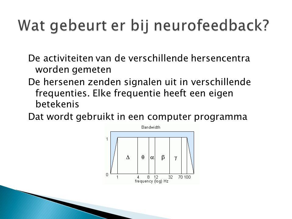 De activiteiten van de verschillende hersencentra worden gemeten De hersenen zenden signalen uit in verschillende frequenties. Elke frequentie heeft e