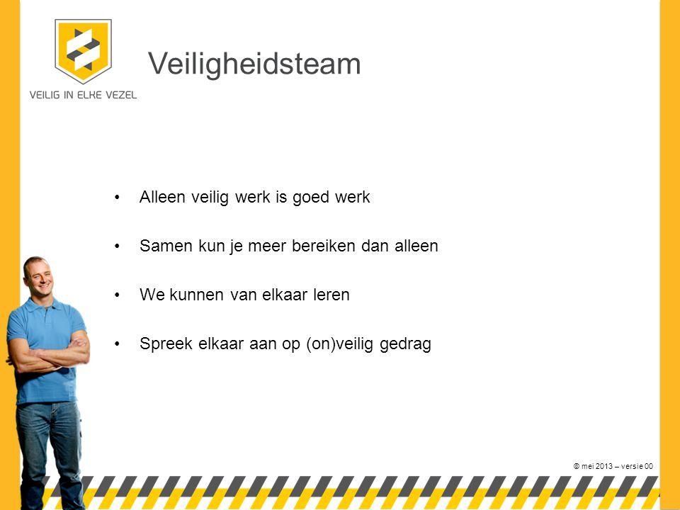 © mei 2013 – versie 00 Veiligheidsteam •Alleen veilig werk is goed werk •Samen kun je meer bereiken dan alleen •We kunnen van elkaar leren •Spreek elkaar aan op (on)veilig gedrag