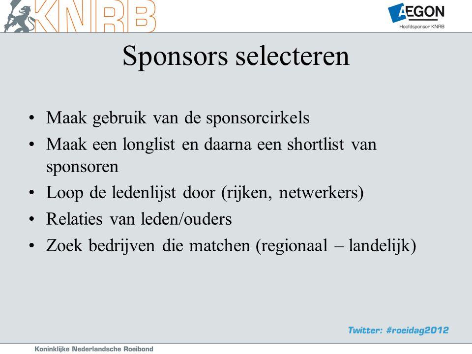 Sponsors selecteren •Maak gebruik van de sponsorcirkels •Maak een longlist en daarna een shortlist van sponsoren •Loop de ledenlijst door (rijken, netwerkers) •Relaties van leden/ouders •Zoek bedrijven die matchen (regionaal – landelijk)