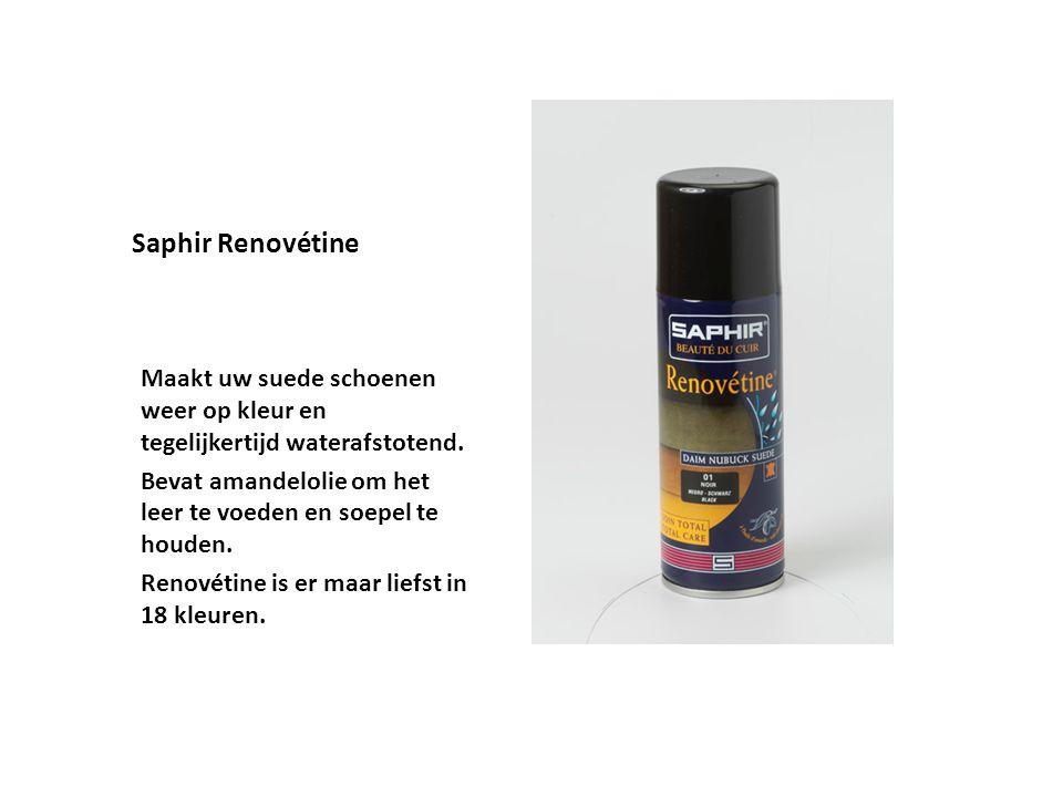 Saphir Renovétine Maakt uw suede schoenen weer op kleur en tegelijkertijd waterafstotend. Bevat amandelolie om het leer te voeden en soepel te houden.