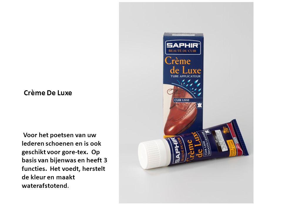 Crème De Luxe Voor het poetsen van uw lederen schoenen en is ook geschikt voor gore-tex. Op basis van bijenwas en heeft 3 functies. Het voedt, herstel