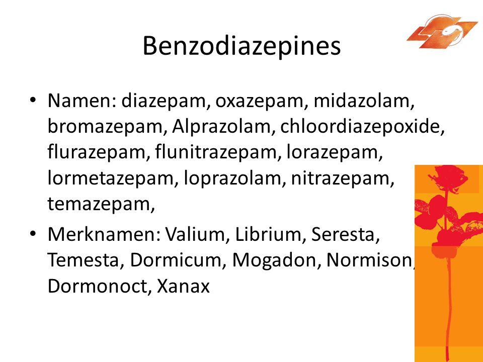 Werking • Benzodiazepines werken op de GABA receptor in de hersenen.