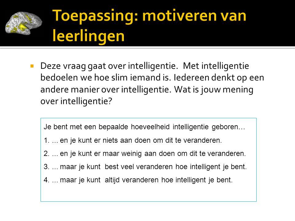  Deze vraag gaat over intelligentie. Met intelligentie bedoelen we hoe slim iemand is. Iedereen denkt op een andere manier over intelligentie. Wat is
