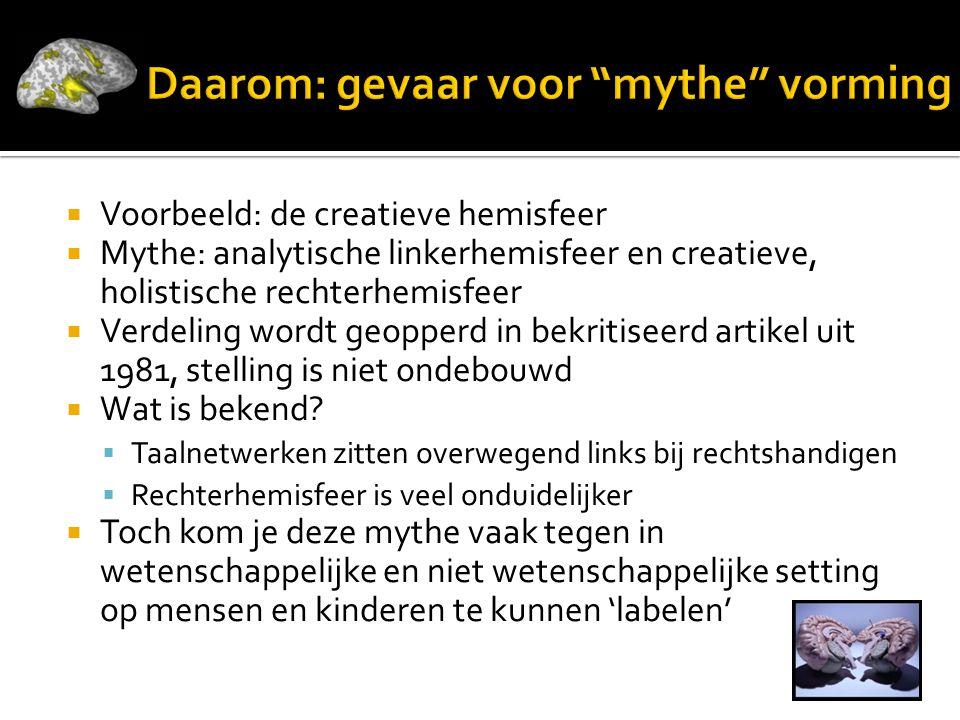  Voorbeeld: de creatieve hemisfeer  Mythe: analytische linkerhemisfeer en creatieve, holistische rechterhemisfeer  Verdeling wordt geopperd in bekritiseerd artikel uit 1981, stelling is niet ondebouwd  Wat is bekend.