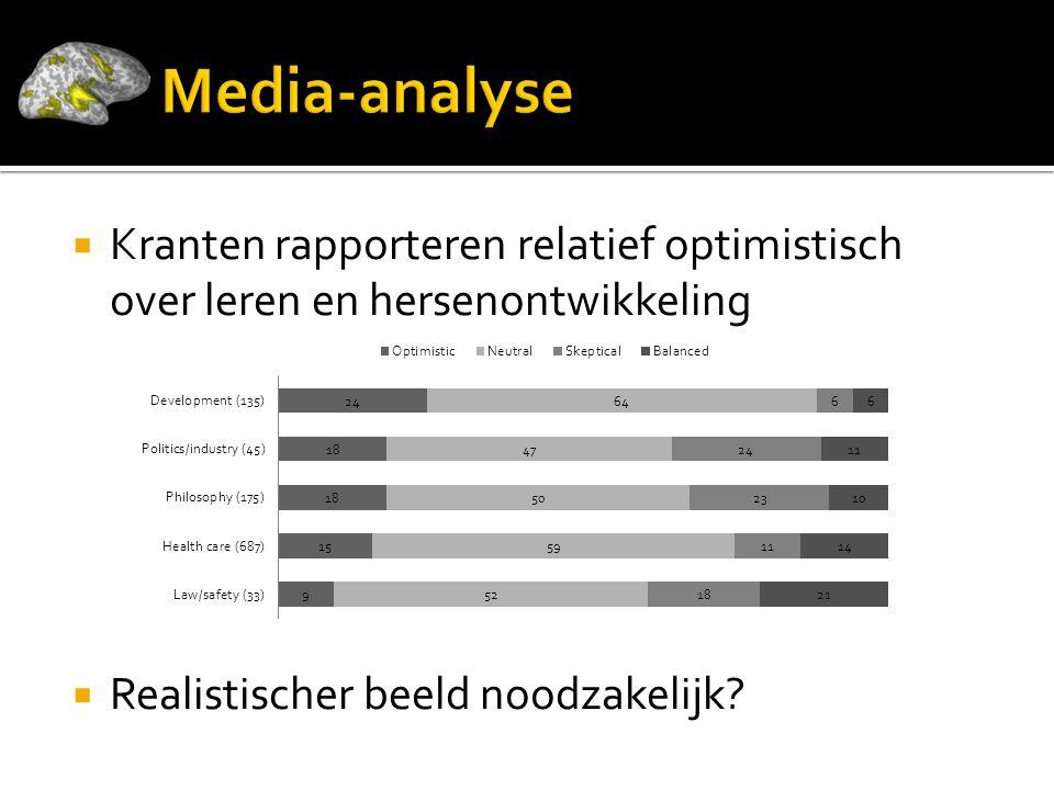  Kranten rapporteren relatief optimistisch over leren en hersenontwikkeling  Realistischer beeld noodzakelijk?