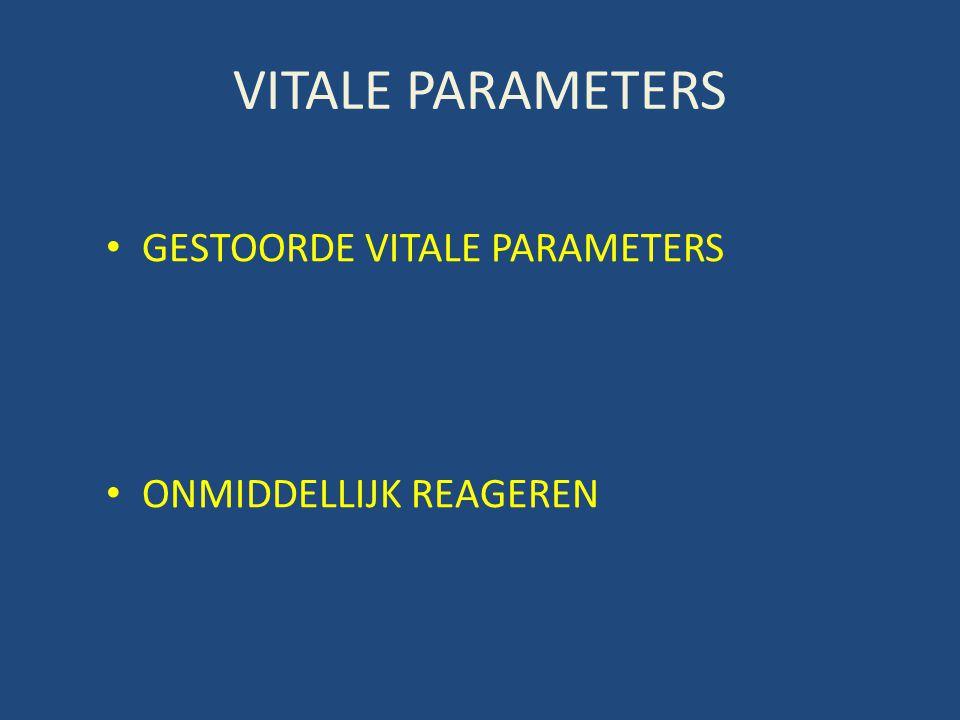VITALE PARAMETERS • GESTOORDE VITALE PARAMETERS • ONMIDDELLIJK REAGEREN