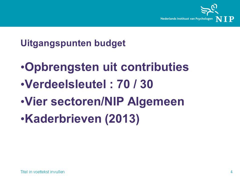 Uitgangspunten budget • Opbrengsten uit contributies • Verdeelsleutel : 70 / 30 • Vier sectoren/NIP Algemeen • Kaderbrieven (2013) Titel in voettekst invullen4
