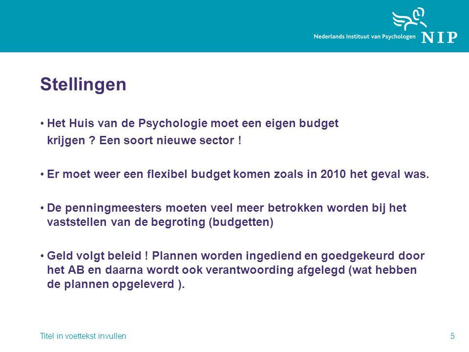 Stellingen •Het Huis van de Psychologie moet een eigen budget krijgen .