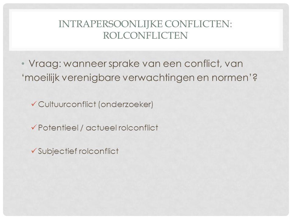 INTRAPERSOONLIJKE CONFLICTEN : ROLCONFLICTEN Vb: • Cultuurconflict • Cultuurconflict: Een Afrikaanse onderzoeker in Europa ziet vrouwen halftijds werken en het huishouden doen.