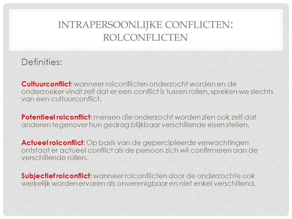 INTRAPERSOONLIJKE CONFLICTEN : ROLCONFLICTEN Definities: Cultuurconflict : wanneer rolconflicten onderzocht worden en de onderzoeker vindt zelf dat er