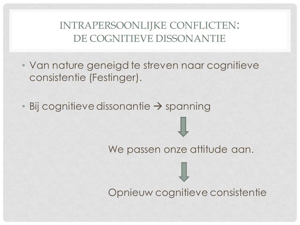 INTRAPERSOONLIJKE CONFLICTEN : DE COGNITIEVE DISSONANTIE • Van nature geneigd te streven naar cognitieve consistentie (Festinger). • Bij cognitieve di