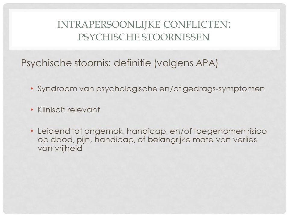 INTRAPERSOONLIJKE CONFLICTEN : PSYCHISCHE STOORNISSEN Psychische stoornis: definitie (volgens APA) • Syndroom van psychologische en/of gedrags-symptom