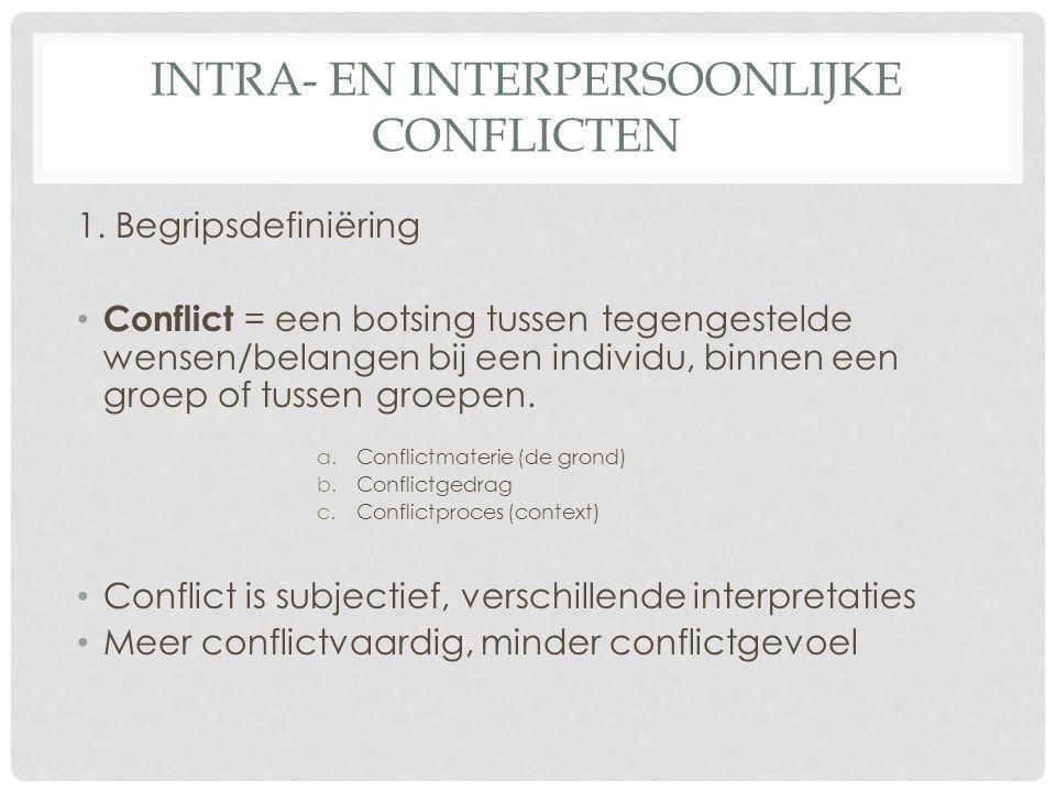 INTRA- EN INTERPERSOONLIJKE CONFLICTEN 1. Begripsdefiniëring • Conflict = een botsing tussen tegengestelde wensen/belangen bij een individu, binnen ee