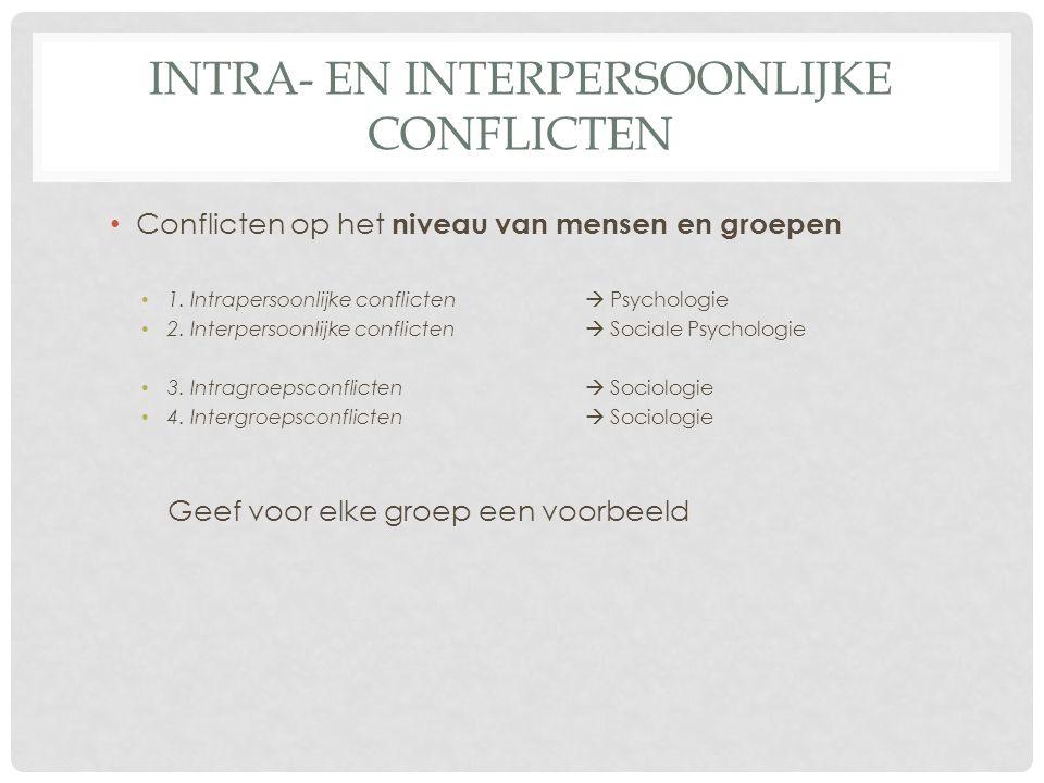INTRA- EN INTERPERSOONLIJKE CONFLICTEN • Conflicten op het niveau van mensen en groepen • 1. Intrapersoonlijke conflicten  Psychologie • 2. Interpers