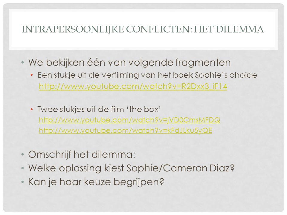 INTRAPERSOONLIJKE CONFLICTEN: HET DILEMMA • We bekijken één van volgende fragmenten • Een stukje uit de verfilming van het boek Sophie's choice http:/