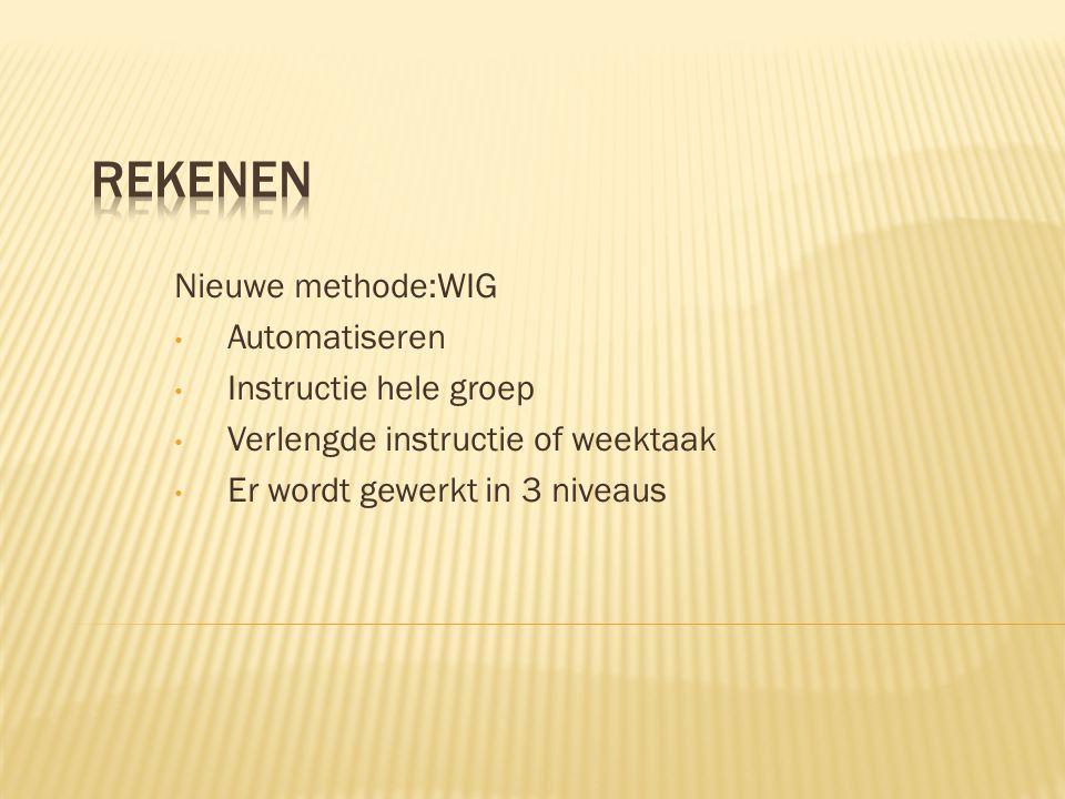 Nieuwe methode:WIG • Automatiseren • Instructie hele groep • Verlengde instructie of weektaak • Er wordt gewerkt in 3 niveaus