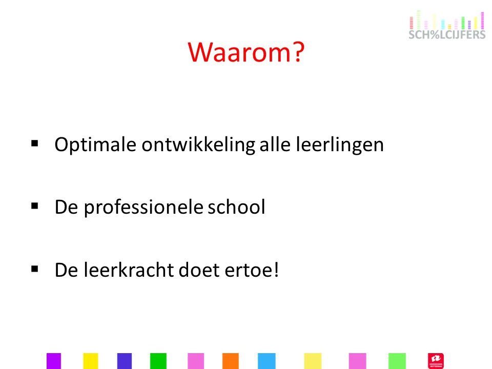 Waarom?  Optimale ontwikkeling alle leerlingen  De professionele school  De leerkracht doet ertoe!