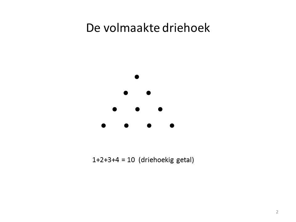 De volmaakte driehoek • • • • • • • • • • 1+2+3+4 = 10 (driehoekig getal) 2