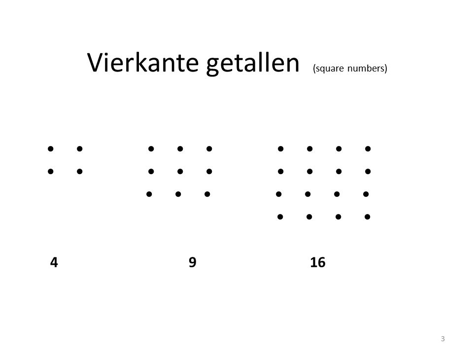 Vierkante getallen (square numbers) • • • • • • • • • • • • • • • • • • • • 4 9 16 3