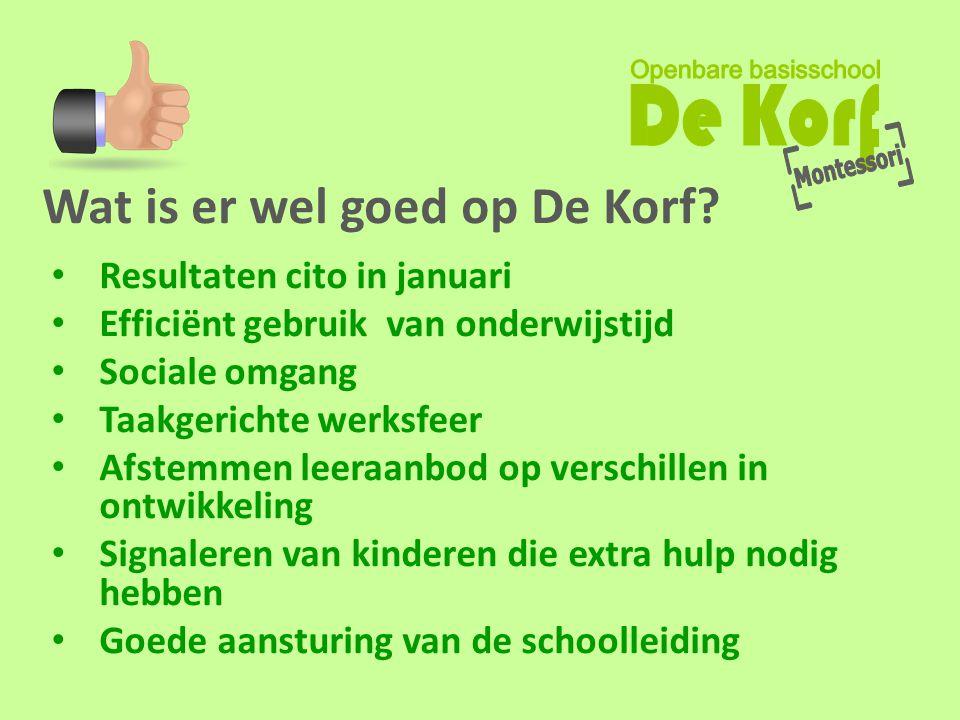 Wat is er wel goed op De Korf? • Resultaten cito in januari • Efficiënt gebruik van onderwijstijd • Sociale omgang • Taakgerichte werksfeer • Afstemme