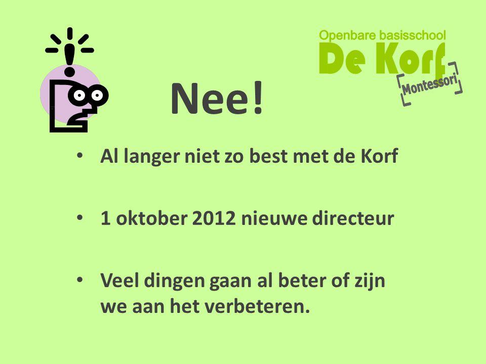 Nee! • Al langer niet zo best met de Korf • 1 oktober 2012 nieuwe directeur • Veel dingen gaan al beter of zijn we aan het verbeteren.
