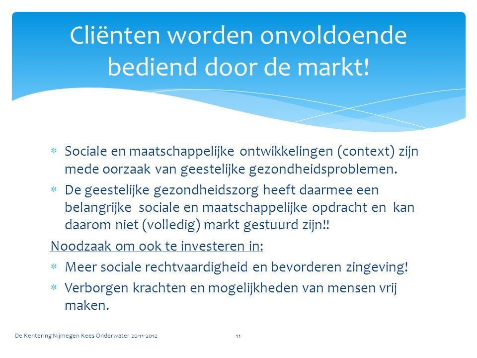  Sociale en maatschappelijke ontwikkelingen (context) zijn mede oorzaak van geestelijke gezondheidsproblemen.  De geestelijke gezondheidszorg heeft