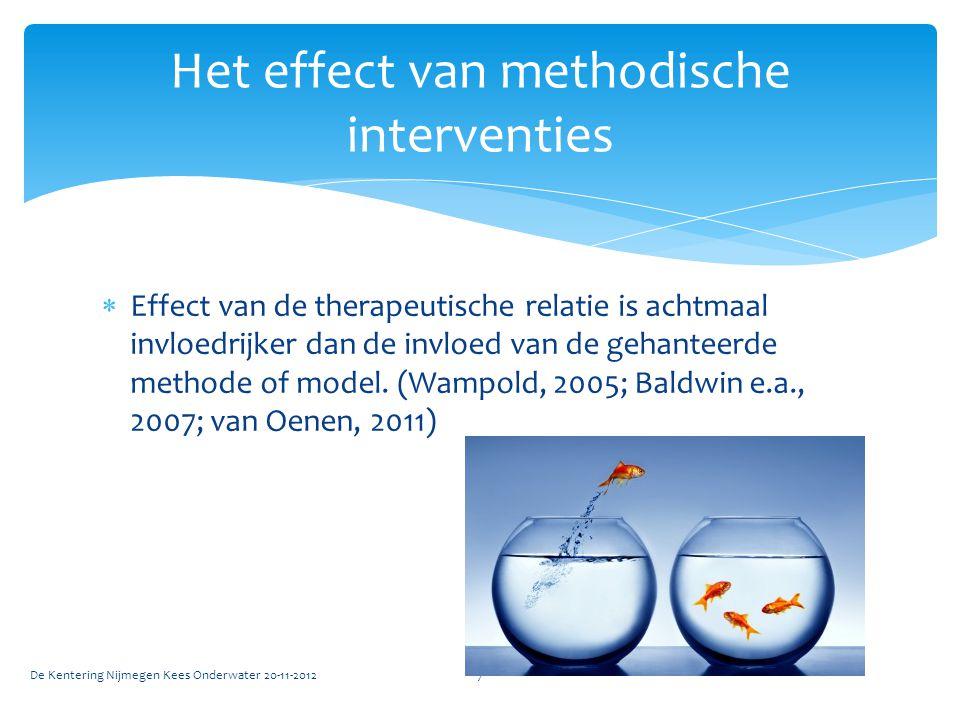  Effect van de therapeutische relatie is achtmaal invloedrijker dan de invloed van de gehanteerde methode of model. (Wampold, 2005; Baldwin e.a., 200