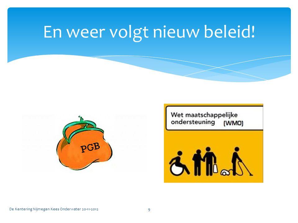 En weer volgt nieuw beleid! De Kentering Nijmegen Kees Onderwater 20-11-20129
