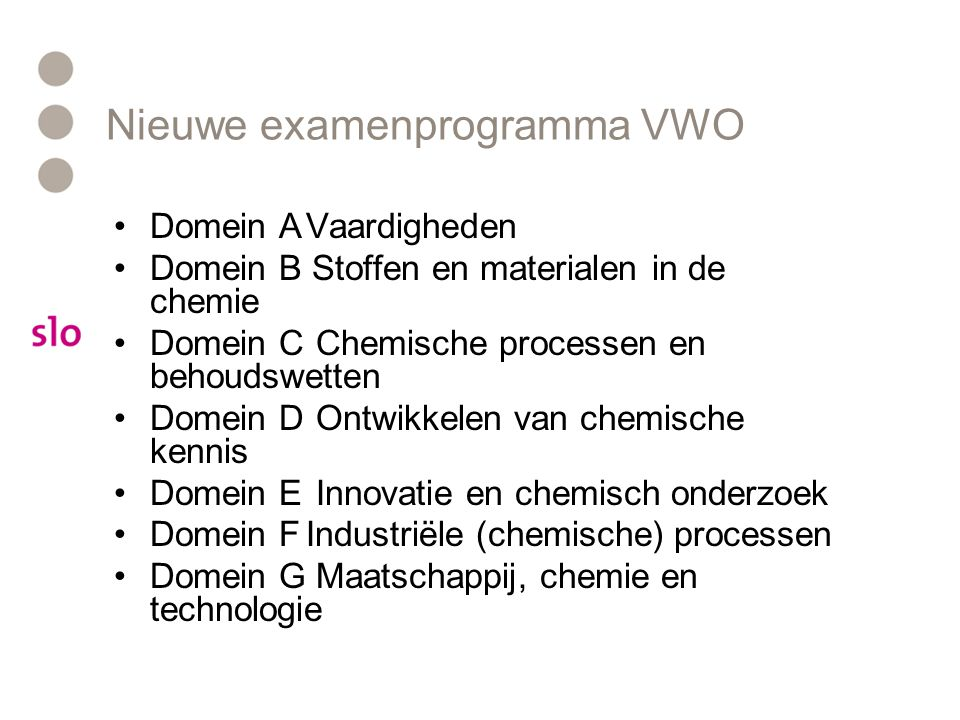 Nieuwe examenprogramma VWO •Domein AVaardigheden •Domein B Stoffen en materialen in de chemie •Domein C Chemische processen en behoudswetten •Domein D Ontwikkelen van chemische kennis •Domein E Innovatie en chemisch onderzoek •Domein FIndustriële (chemische) processen •Domein G Maatschappij, chemie en technologie