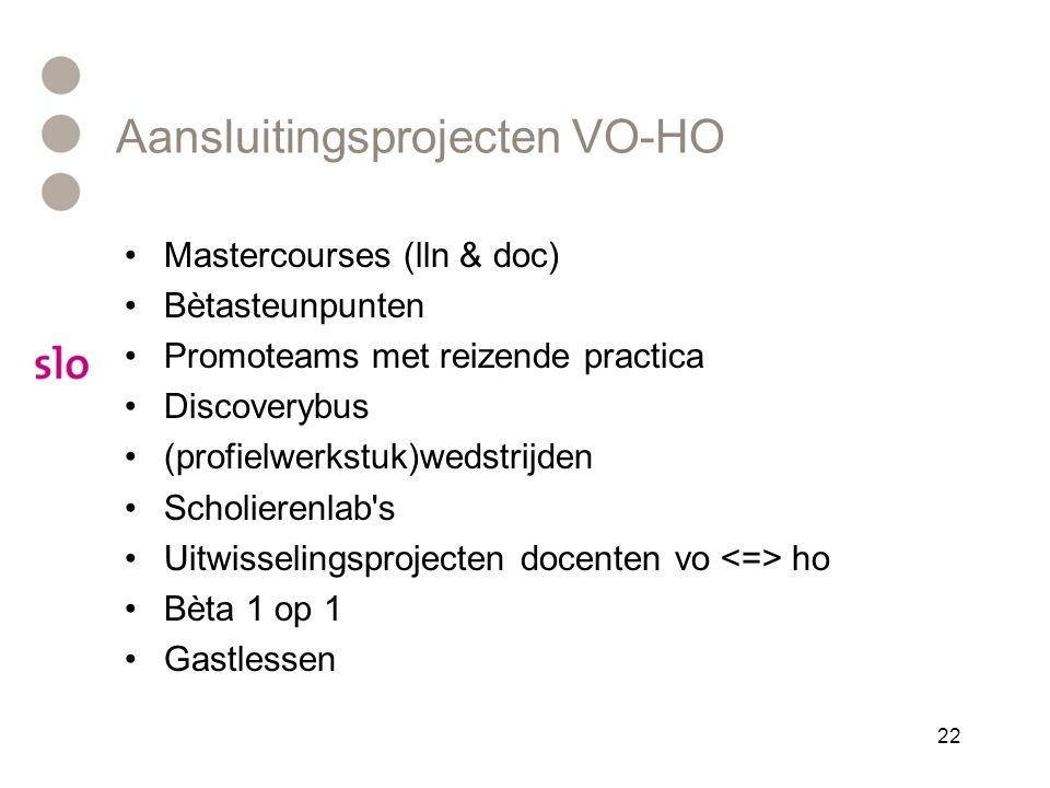 Aansluitingsprojecten VO-HO •Mastercourses (lln & doc) •Bètasteunpunten •Promoteams met reizende practica •Discoverybus •(profielwerkstuk)wedstrijden •Scholierenlab s •Uitwisselingsprojecten docenten vo ho •Bèta 1 op 1 •Gastlessen 22