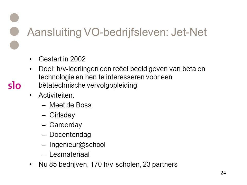 Aansluiting VO-bedrijfsleven: Jet-Net •Gestart in 2002 •Doel: h/v-leerlingen een reëel beeld geven van bèta en technologie en hen te interesseren voor een bètatechnische vervolgopleiding •Activiteiten: –Meet de Boss –Girlsday –Careerday –Docentendag –Ingenieur@school –Lesmateriaal •Nu 85 bedrijven, 170 h/v-scholen, 23 partners 24