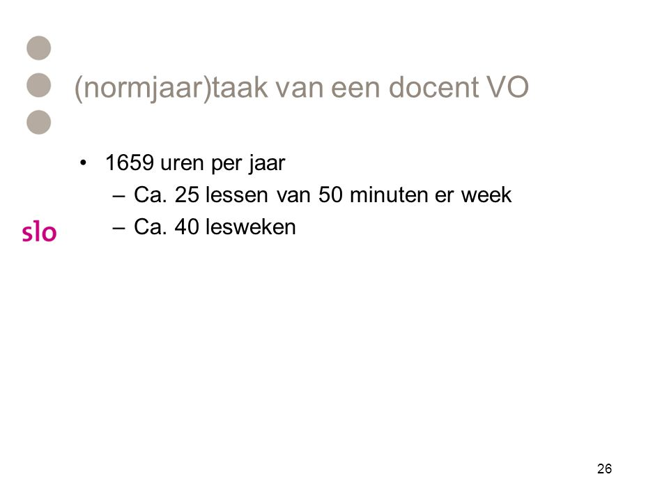 (normjaar)taak van een docent VO •1659 uren per jaar –Ca. 25 lessen van 50 minuten er week –Ca. 40 lesweken 26
