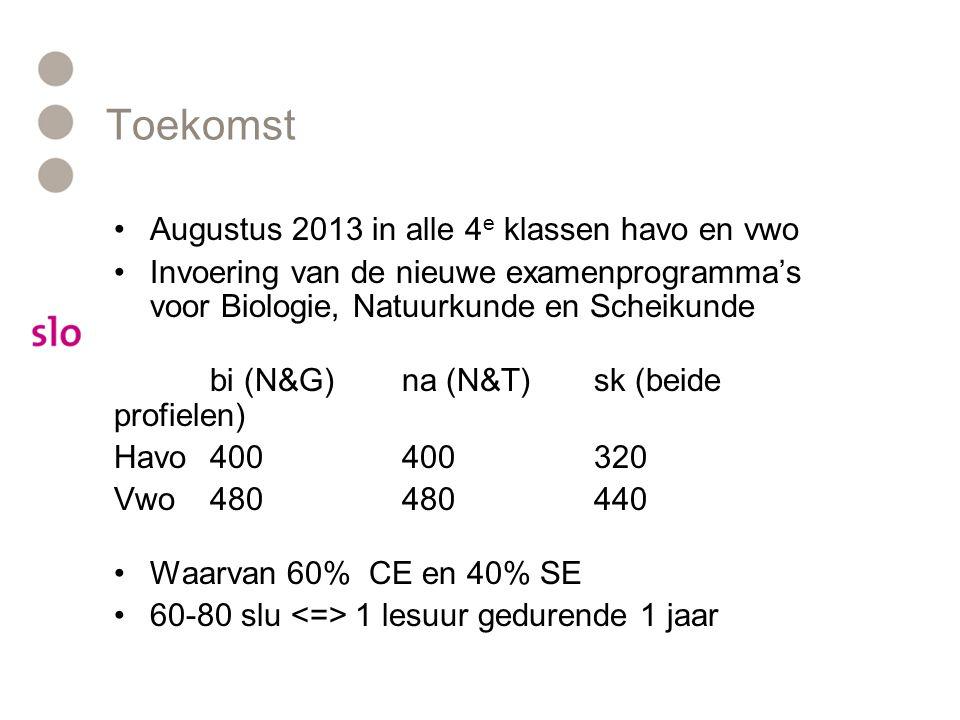 Toekomst •Augustus 2013 in alle 4 e klassen havo en vwo •Invoering van de nieuwe examenprogramma's voor Biologie, Natuurkunde en Scheikunde bi (N&G)na