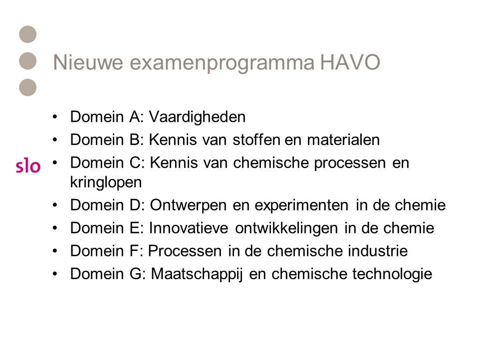 Nieuwe examenprogramma HAVO •Domein A: Vaardigheden •Domein B: Kennis van stoffen en materialen •Domein C: Kennis van chemische processen en kringlopen •Domein D: Ontwerpen en experimenten in de chemie •Domein E: Innovatieve ontwikkelingen in de chemie •Domein F: Processen in de chemische industrie •Domein G: Maatschappij en chemische technologie