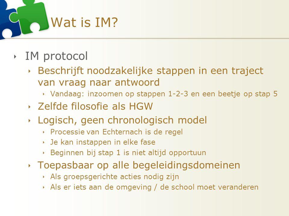 Wat is IM?  IM protocol  Beschrijft noodzakelijke stappen in een traject van vraag naar antwoord  Vandaag: inzoomen op stappen 1-2-3 en een beetje