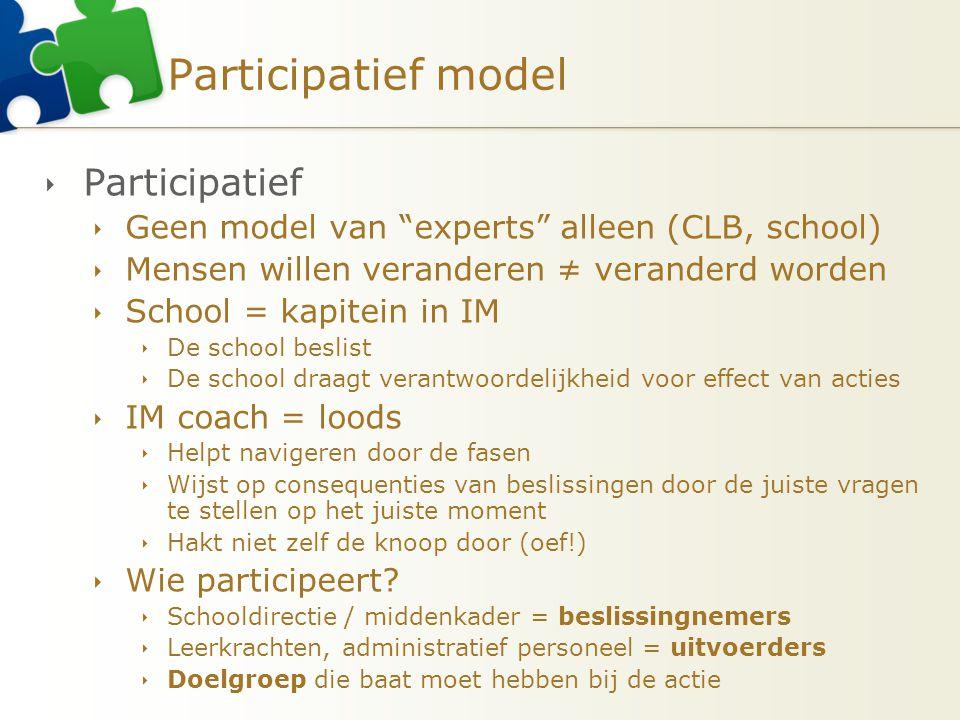 """Participatief model  Participatief  Geen model van """"experts"""" alleen (CLB, school)  Mensen willen veranderen ≠ veranderd worden  School = kapitein"""